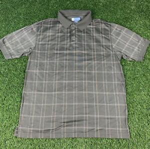 Men's Jos A. Bank Leadbetter Golf Polo Shirt Size Large Brown Plaid Golfing J17