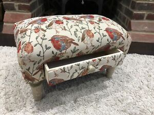 Bird Design Robins Fabric Footstool With Drawer -