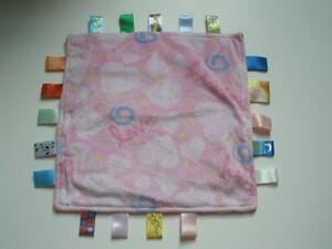 EUC Taggies Love Kisses Hugs Hearts Pink Square Fleece Baby Security Blanket