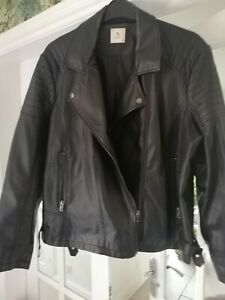 TU BLACK Faux Leather biker Jacket front zips. Pockets Size 24