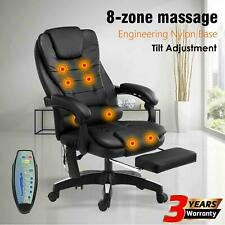 8 Point Office Chair Massage Chairs Leather Computer Desk Recliner Gaming Seat