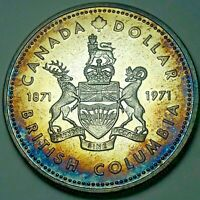 1971 CANADA 1 ONE SILVER DOLLAR PROOF GEM UNC STUNNING BLUE COLOR TONED BU (DR)