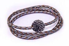 Simon Sebbag Gunmetal Triple Wrap Leather Sterling Silver Bead Bracelet BL97/GM