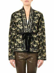 ISABEL MARANT silk quilted leather-trim Oma kimono jacket / sz 42 / near new
