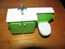 Fisher Price 1978 Doll House part/piece bathroom sink &Toilet