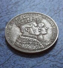 More details for german prussia wilhelm and augusta 1861 silver thaler.