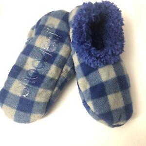 Snoozies Blue Buffalo Plaid Tween Large 6 / 7 Non-Skid Soles Slipper Socks New