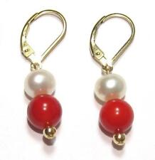 Genuine White Pearl & Red Coral 14K Gold Filled Lever Back Earrings