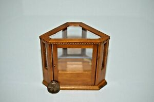 Miniature Corner Display Cabinet, Walnut in 1:12 doll scale T6345