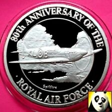 1998 TURKS AND CAICOS 20 Crowns Spitfire Royal Air Force RAF Silver Proof Coin