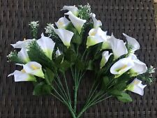 Artificial Silk Flowers Calla Lily Bunches X 3 Home Garden Grave Wedding