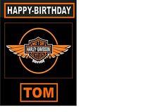 "PERSONALISED HARLEY DAVIDSON LOGO  A4 Icing Sheet 10""x8"" Birthday Cake Topper"