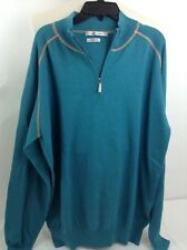 Peter Millar Pullover 1/4 Zip Sweater Cotton Cashmere Teal Grn Men Large L $165