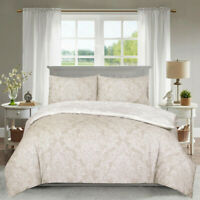 Modern 3 Piece Damask Duvet Cover Super King Size Cotton Rich Printed Bed Set