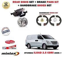 FOR HYUNDAI iLOAD 2.5 2009-> REAR BRAKE DISCS SET + PADS KIT + HAND brake SHOES