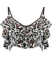Animal Print Sleeveless Crop Tops for Women
