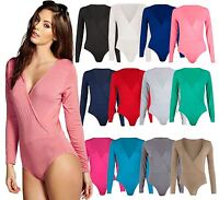 Womens Ladies Over Wrap Long Sleeve V Shaped Neckline Stretch Bodysuit Outfit