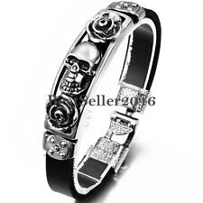 Silver Tone Rose Gothic Skull Black Leather Bangle Cuff Bracelet Wristband