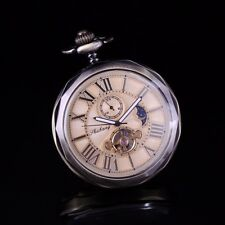 Vintage Bronze Open Face Polygon Case Automatic Wind Up Pocket Watch Chain