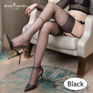 5D Ultra-thin Pure Inelastic Nylon Stockings Sexy Silk Retro Thigh Stockings