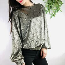 80s Vintage Top Womens Size 12 Black Silver Metallic Geometric Empire Waist