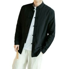 Men's Stand Collar Chinese style Long sleeve Shirt Plain Cotton Tops Loose Fit L