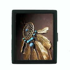 Dreamcatcher D4 Black Cigarette Case / Metal Wallet Snare Spider Web