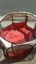 Large red Colour Fabric Pet Dog Cat Puppy Playpen Soft Foldable USED ONCE
