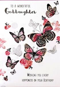 """Traditional Classy Butterflies & Flowers """"GODDAUGHTER"""" Birthday Card"""