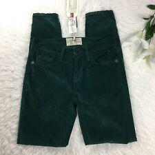 NWT $238 Current/Elliott Womens The Stiletto Green Velvet Skinny Pants Sz 24