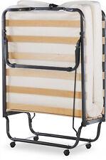"""Single Size Folding Cot Bed 4.5"""" Memory Foam Mattress Wooden Slat Metal Frame"""