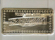 1973 Hamilton Mint Wright Brothers Plane HAM-405 Silver Art Bar A3541