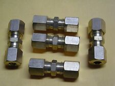 """3/16"""" x 3/16"""" Straight Brass Compression Union   5  PACK"""