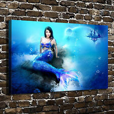 Dark hair Blue Mermaid Paintings HD Print on Canvas Home Decor Wall Art Picture