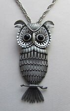 "VINTAGE LARGE ARTICULATED 3PC SCULPTED GUN-METAL GRAY OWL PENDANT & 22"" NECKLACE"