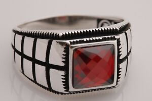 Turkish Handmade Jewelry Square Cut Ruby 925 Sterling Silver Men's Ring 12