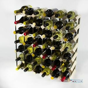Cranville wine rack storage 42 bottle pine wood and metal wine rack assembled