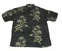 Tommy Bahama Silk Hawaiian Camp Shirt Mens L Short Sleeve Gray Green Palm Trees