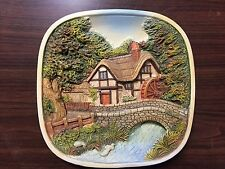 Lot of Five Vintage Legend Products Chalkware Plates England 1980's 3D Scenes