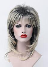 Natural Black Root Golden Blonde Medium Long Layered Women Everyday Full Wig