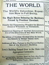 1893 headline display newspaper CHICAGO WORLD'S FAIR first OPENS to the PUBLIC