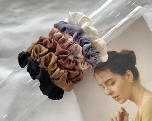 6Pcs Satin Hair Rope Elastic Scrunchies Ponytails Holder Headwear Solid Color