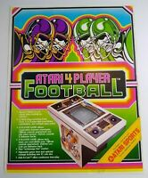 Atari 4 Player Football Arcade FLYER Original 1979 Retro Game Video Paper Art