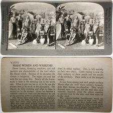Keystone Stereoview of Bare Breasted Masai Women doing chores RARE 1200 Card Set