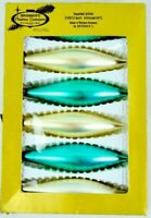 Bronner's 6 Vintage West Germany Christmas Glass Ornaments Painted Teal & White