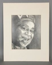Original CHARCOAL PENCIL DRAWING Dizzy Gillespie Jazz Musician Portrait Signed