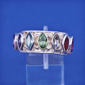 sz 8, Sterling silver ring, 925 cocktail band with peridot ruby topaz amethyst