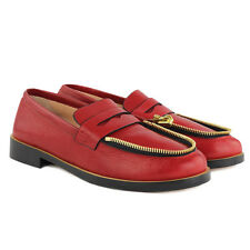 Ketevane Maissaias Bordeaux Red Textured Leather Zip Together Loafers IT41 UK8