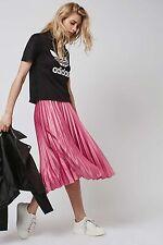 Topshop Dusky Rose Pink Silky Satin Pleated Midi Skirt - Size 6