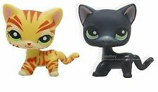 Littlest Pet Shop Green Eyes Yellow Orange Tiger Cat Kitten Kitty LPS #1451